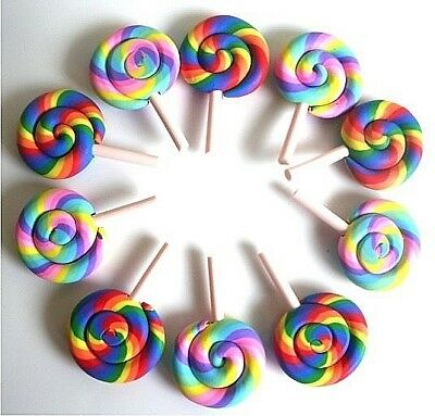 10 Gorgeous Rainbow Lollies Clay Fimo Cabochons Kawaii Decoden - Fast Shipping