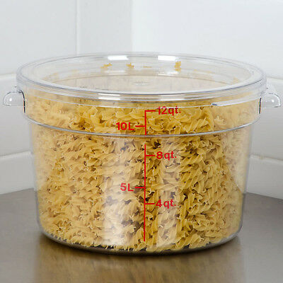 Cambro (RFSCW12-135) Camwear 12 Qt. Clear Round Food Storage Container, w/Cover