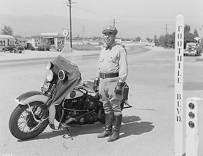 1938 California Highway Patrol officer and his Harley 8 x 10 Photograph