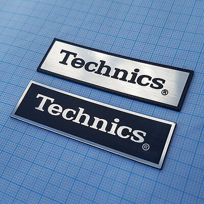 2 x Technics - METALLIC Case Logo Sticker Badge - 70mm / 20mm