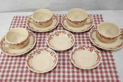 LOT Jac-Tan Jackson China Vitrified 4 sets Cups & Saucers 3 fruit bowls Red Pink