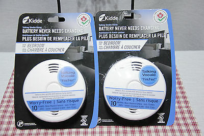 NEW 2 Kidde Talking SMOKE Alarms 10 Yr Battery NEVER NEEDS CHANGING Latest Model
