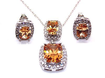 Sterling Silver Morganite And Diamond 11.75ct Necklace Set (925)