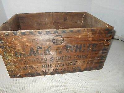 Vintage Collectible Wooden Black & White Scotch Whisky Advertising Crate