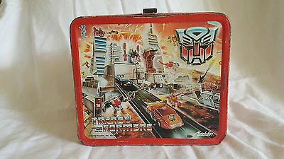 Transformers Lunch Box Aladdin 1986 With Thermos - Vintage Metal