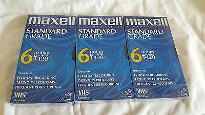 Maxell VHS T-120 6 Hour Standard Grade Blank Video Tapes - 3 New Sealed