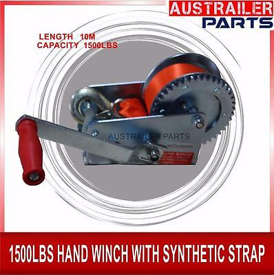 1500Lbs Hand Winch With Synthetic Strap  10M