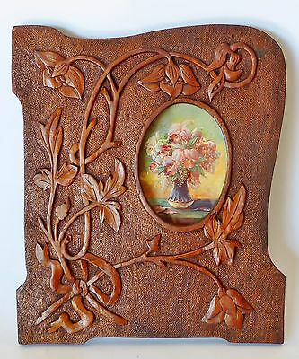 ART NOUVEAU HAND CARVED ANTIQUE FRAME wall hanging photo picture c1900 timber