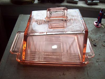 Luxval Pink Depression Glass Cheese Dish with a Deco style