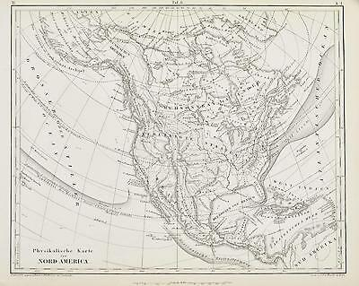 North America Antique Engraved Map 1857 A