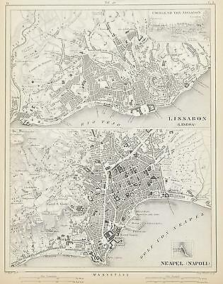 Lisbon Portugal Naples Italy Antique Engraved City Map 1857