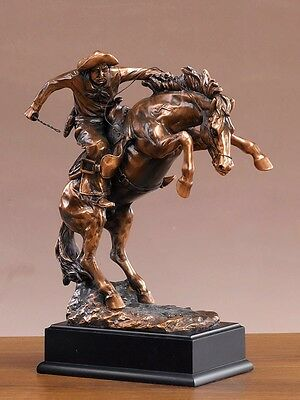 "Pony Express on Horse American West Bronze Figurine Statue 8.5""x 11"""