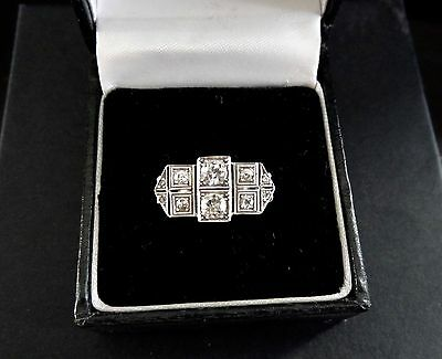 Vintage Art Deco G Old Diamond Platinum Engagement Dress Ring Valuation $8500