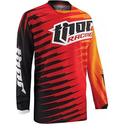 Thor Vented Phase S5 Adult Motocross MX Dirt Bike Jersey - L Large - Red Orange
