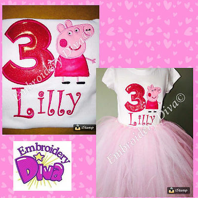 Peppa Pig PERSONALISED 1st, 2nd, 3rd .. BIRTHDAY OUTFIT (TUTU & TOP)