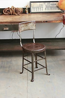 Vintage Industrial Early Angle Steel Stool Co Machine Age Chair Factory 1930s