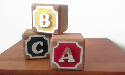 VTG Set of 3 Hand Painted Letter & Number ABC 123 Wooden Blocks Chippy 3.5 Inch