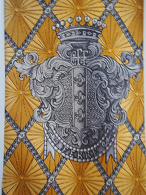 G. FERRE Armorial Family Crest Coat of Arms Shield Emblem Crown Gold Silk Tie FC