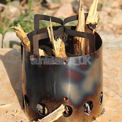 Portable Camping Wood Stove Furnace Cooking Backpacking Wind Screen Burner