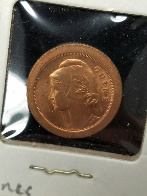 1933 Guinea Bissau Portugal 5 Centavos Nice Red Brown Uncirculated