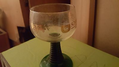2 Vintage made in West Germany Schmitt Sohne Rummer Wine Glasses gold lettering