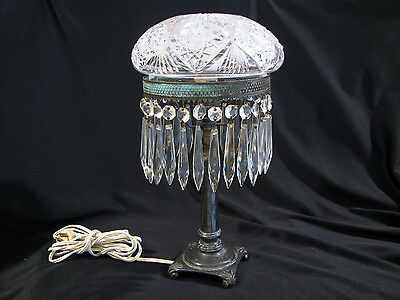 Vintage CUT GLASS WITH CRYSTALS BOUDOIR TABLE LAMP