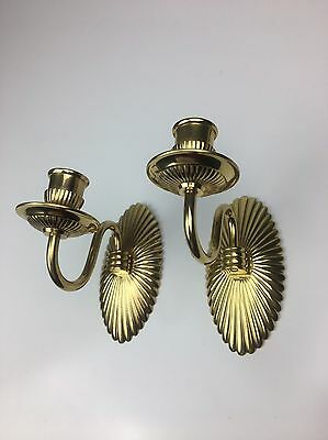 Vintage Pair Of Polished Ribbed Shell Brass Candle Holder Wall Sconces Art Deco