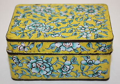 Beautiful Vintage Chinese Export Hand Painted Canton Enameled Floral Motif Box