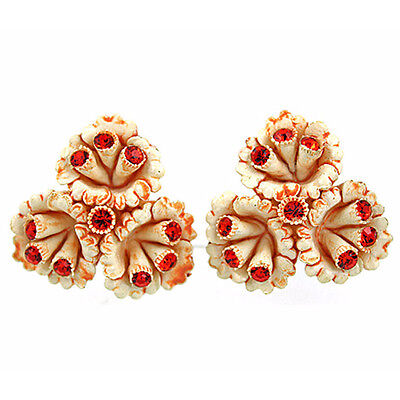 Vintage Featherweights Rhinestone Celluloid Earrings, Wedding Cake, Orange