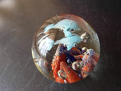 Glass Paper Weight 2 Blue Dolphins on Bubbles & Mountains 6Hx6.5Wx6.5D cm