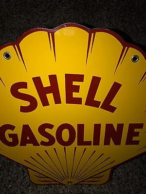 Vintage Shell Gasoline Porcelain Sign Thick Metal Pump Plate Gas Oil Lubester