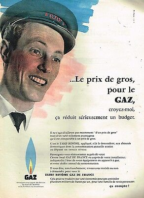 Breweriana, Beer Publicite Advertising 1959 Gaz De France Le Prix De Gros
