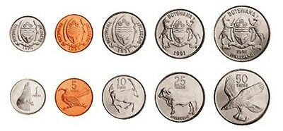 Botswana - 1976/1996 - Unc - 1,5,10,25,50 Thebe -Coins Set