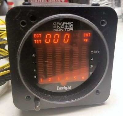 INSIGHT GEM-603 GRAPHIC ENGINE MONITOR w/Harness EGT CHT TIT Cesssna Beech Piper