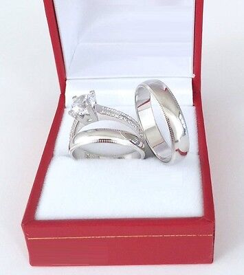 14K White Gold His Her Mens Womans Diamond Wedding Ring Bands Trio Bridal Set