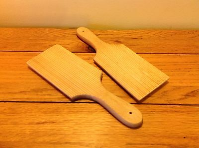 Vintage Pair Wooden Wood Ribbed Dairy Butter Pats Paddles