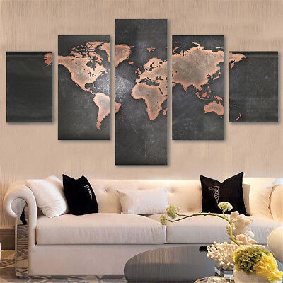 5Pcs/Set Canvas Paintings Picture Print Unframed World Map Art Home Wall Decor
