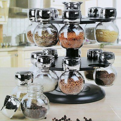 16 Pieces Kitchen Revolving Glass Herbs Spice Jar Rack Carousel Rotating Stand