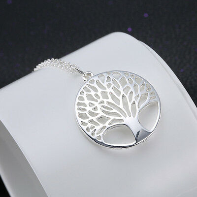 "Silver TREE OF LIFE Coin Pendant Necklace 18"" Silver Plated Jewelry"
