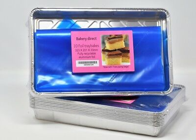 Bakery direct Large Foil tray bake containers aluminium recyclable 12 x 8""