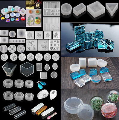 DIY Silicone Gem Beads Pendant Moulds Mold Resin Making Tool Jewelry 20 Shapes