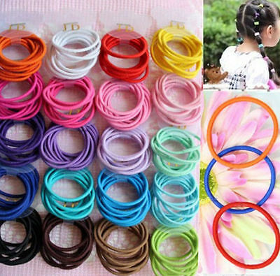 100X Girl Elastic Rope Rubber Hair Ties Ponytail Holder Head Band Hairbands NEW