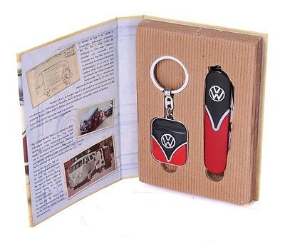VW Gift pocket knife & keychain, red and black