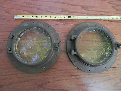 "Antique Wilcox Crittenden Porthole 7 Bronze decommissioned  7"" glass  11"" PAIR"
