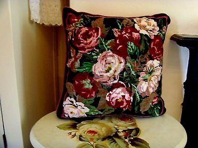 Ehrman Needlepoint Tapestry Cushion ' Mountain Roses ' Discontinued Vgc