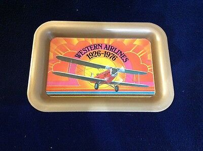 Western Airlines  50th anniversary 1926 - 76  small vintage tray Collectible