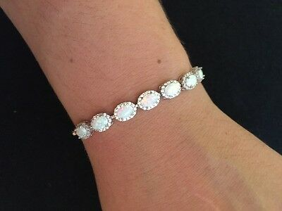 BN Fine Jewellery Sterling Silver Bracelet with White Opal Oval stones 7.5""