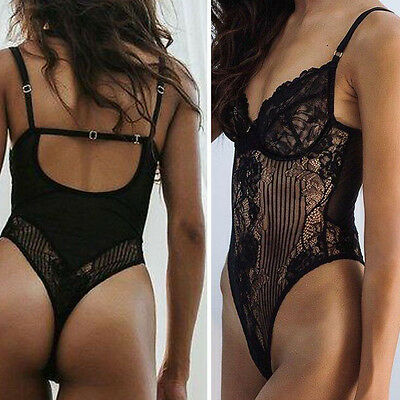 Bodysuit Black Floral Lace Teddy Sleepwear Wired Bra Bodysuit Mesh Lingerie S-L