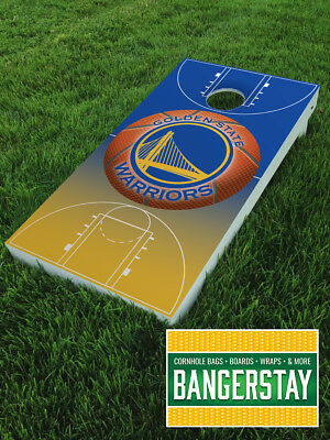 Handcrafted Cornhole Boards with Scorestrip- Golden State Warriors (GSW2)