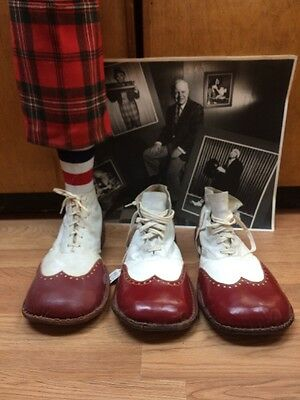 Antique/ Vintage Pair Red & White Leather Clown Shoes With A Three Legged Trick